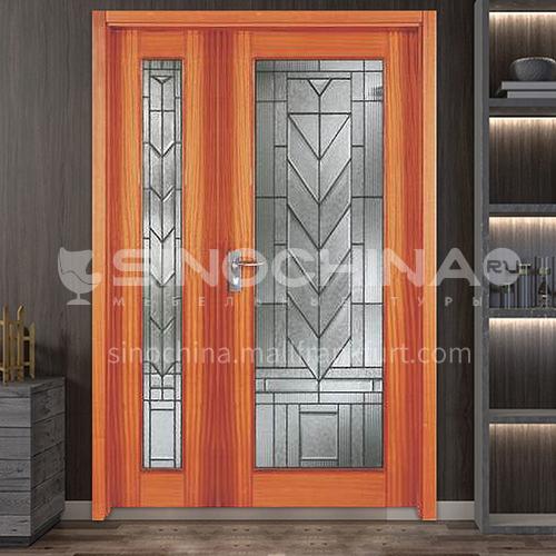 North American walnut log door solid wood double door outdoor wooden door 9