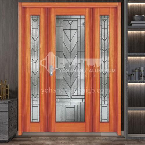 North American Walnut Log Door Solid Wood Door Three Doors Wooden Door Craft Glass Door Outdoor Wooden Door 10