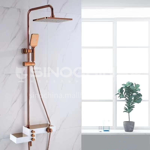 Ultra-thin large top spray three-block exposed constant temperature shower