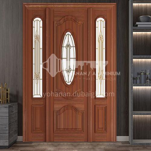 Thai oak door log solid wood double door outdoor wooden door craft glass11