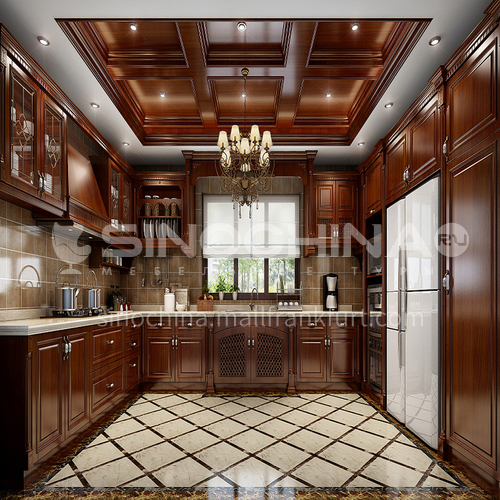 American style Clasic style PVC with HDF kitchen-GK-555