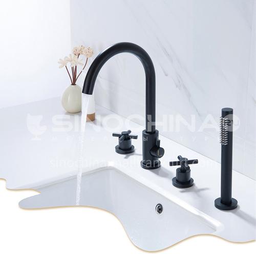 Black bathtub faucet bathtub hot and cold shower faucet split four-piece set  HDP-07009