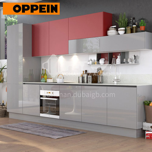 Modern design glossy color UV lacquer with  HDF kitchen cabinets- OP17-A01