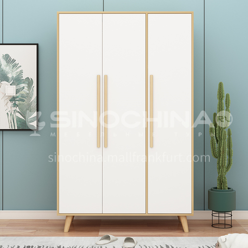 XDD-C06-C07-A08- Modern and simple Scandinavian style, three-door cabinet with flat open, solid wood handles, high-quality door hinges, simple Scandinavian wardrobe