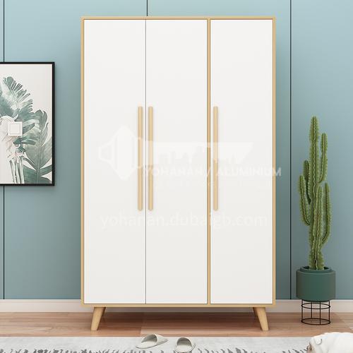 XDD-C06-C07-A08- Modern and simple Scandinavian style, three-door cabinet with flat open, solid wood handles, high-quality door hinges, simple Scandinavian wardrobe