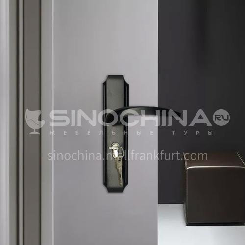 מנעול דלת שחור בדרגה גבוהה אלומיניום דלת עץ סט מנעולי דלת פלסטיק מעץ 09