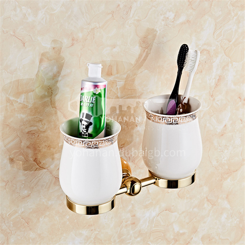 All copper European style golden toothbrush cup holder, toothbrushing cup holder, ceramic sanitary ware, bathroom pendant, double cup MY80104 topaz
