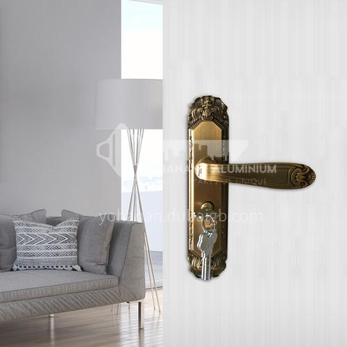 B Classical style bronze wood door wood plastic door handle set key door lock 06