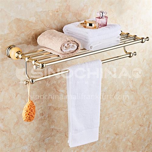 Stainless steel golden jade bath towel rack bathroom double towel rack rack manufacturer wholesale bathroom pendant MY80114 gold-plated topaz