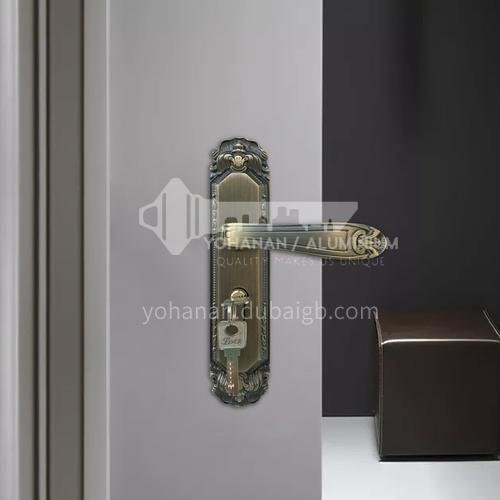 B Classical bronze wood door wood plastic door handle set key door lock 05