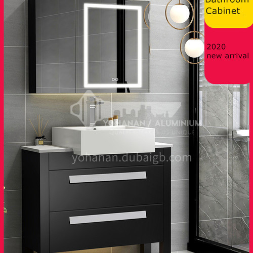 Sintered stone counter top simplistic style compact bathroom vanity cabinet solid wood#lz327new