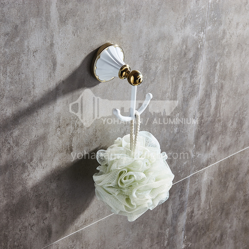 Bathroom bathroom pendant coat hook/single hook/coat hook European style coat hook white gold-plated MY80301-1 white