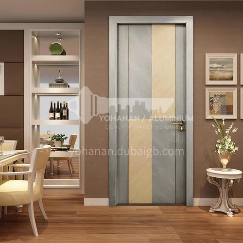 Modern style silent technology veneer patchwork composite solid wood door room door 45