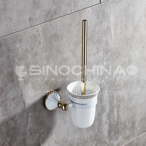 European style new white gold-plated stainless steel bathroom toilet brush bathroom supplies toilet brush cup holder set MY80309 white