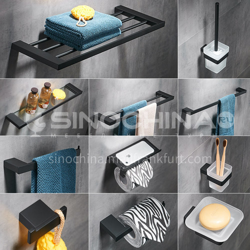 Bathroom black suit 304 stainless steel bath towel rack towel bar toilet bathroom hardware pendant storage package MY89000