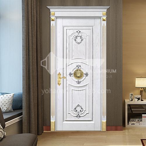 B European style white door Fraxinus mandshurica log solid wood interior room bedroom door price includes Roman column 31
