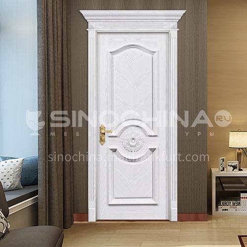 B Fraxinus mandshurica natural solid wood door European style white door soundproof villa indoor single door price includes Roman column 37