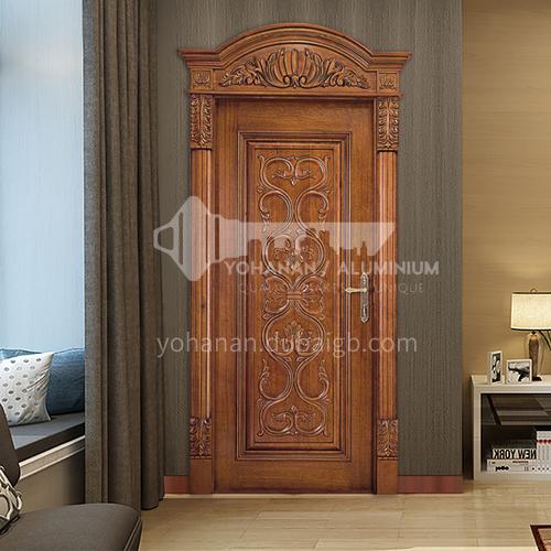 B Luxury house entrance classic design Sapele log flower carving design classic interior door price includes Roman column 24