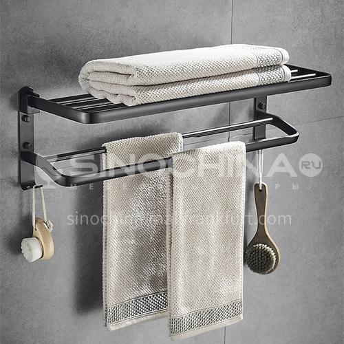 Perforated free towel rack Nordic minimalist towel rack space aluminum toilet rack wall hanging bathroom pendant 8999