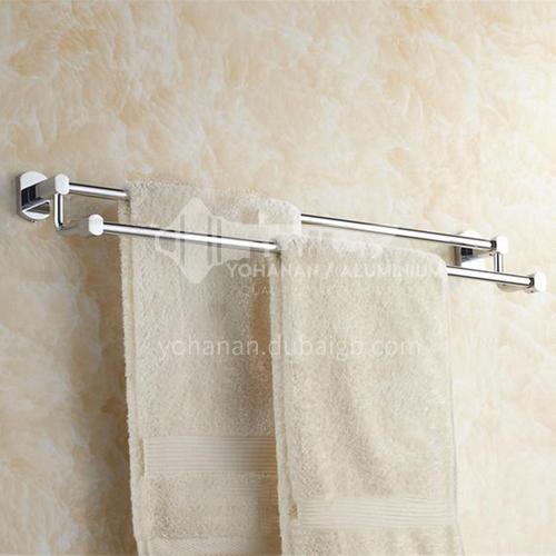 Bathroom silver twin towel rack