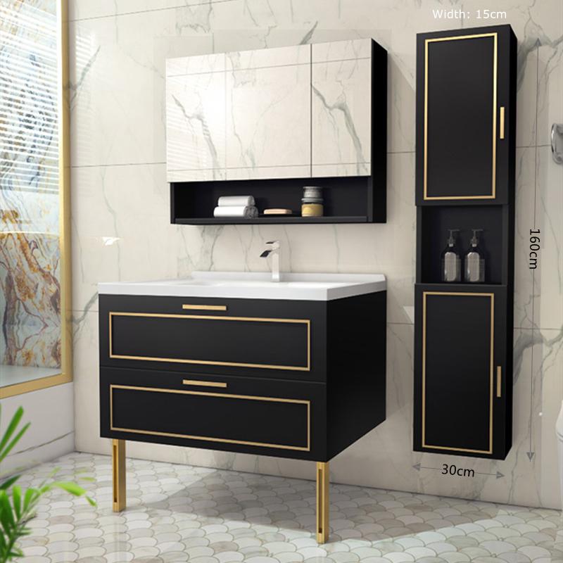 Entry Luxury Modern Style Floor Bathroom Vanity Cabinet Brass Handle 8502