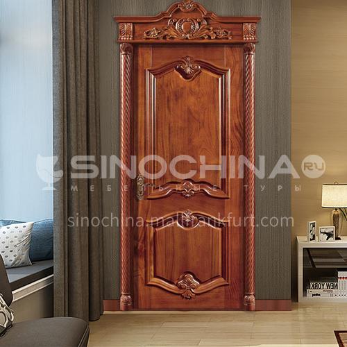 B Hot selling solid wood pineapple lattice log door luxury interior door classical villa interior door price includes roman head 29