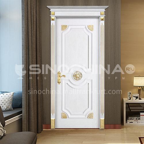 B Customized high quality luxury living room room door Fraxinus mandshurica log solid wood golden door white carved door price includes Roman column 30