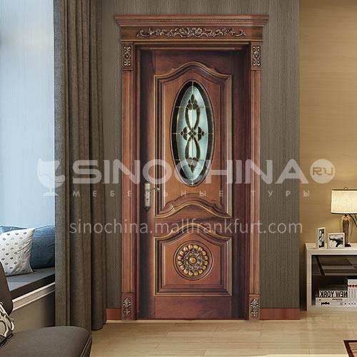 B Classical design oval craft glass entrance door teak wood door carved door watchable interior door design (price includes Roman columns) 23