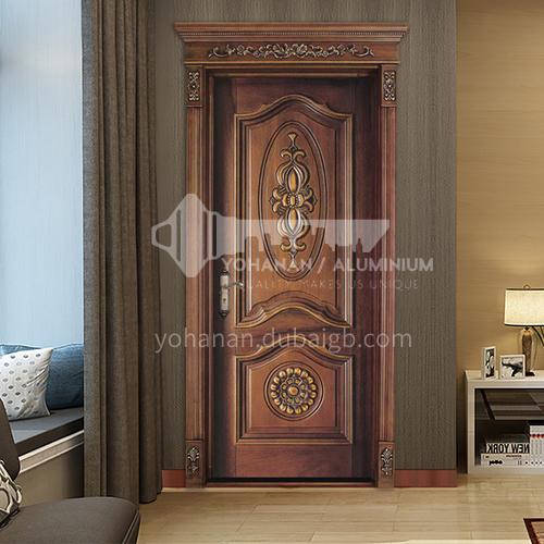 B Teak natural log door carved outdoor door waterproof, soundproof and insect-proof indoor living room bedroom door (price includes Roman columns) 22