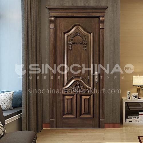 B walnut natural solid wood door classic carved door interior door price with Roman column 34