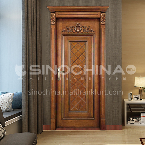 B latest style walnut log door carved decorative line interior door bedroom door price includes Roman column 25