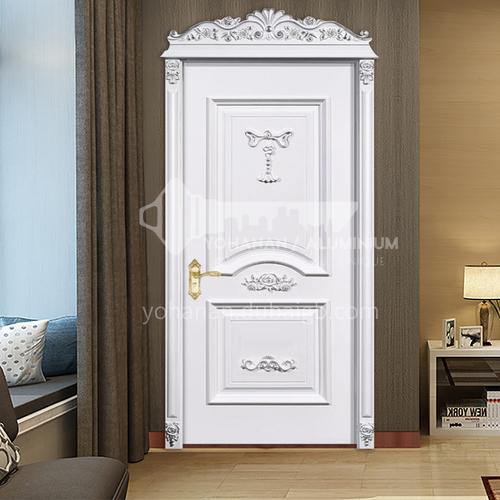 B Russian style Fraxinus mandshurica natural solid wood door interior room door carved silver decoration line interior door price includes Roman column 38