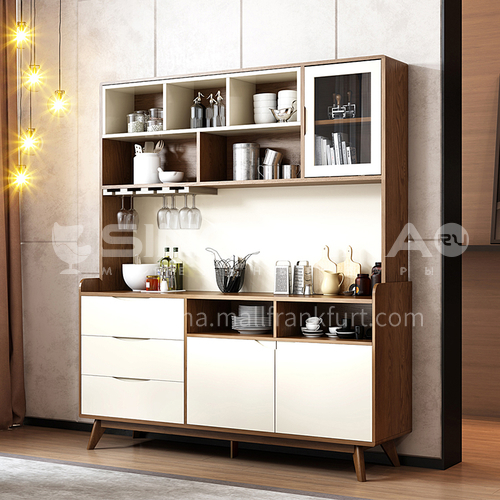 CL-S320 Dining room Fraxinus mandshurica solid wood base MDF veneer metal rail sideboard