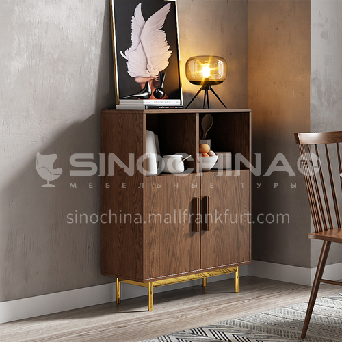 CL-GB129 Dining room high density board stainless steel sideboard with gilded feet