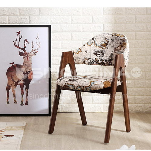 CL-AC017- Fashionable Nordic style, all solid wood, high-quality linen, sponge cushion, stylish Nordic chair