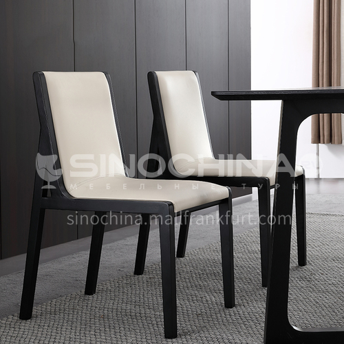 CL-AC029 Restaurant ash wood frame artificial leather density sponge dining chair