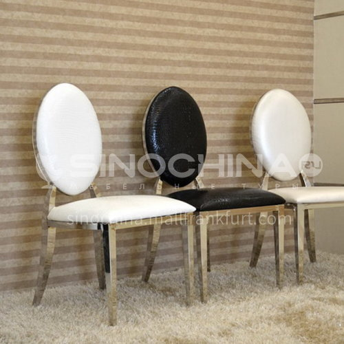 CL-B005 Restaurant stainless steel crocodile grain leather 40 density sponge minimalist dining chair
