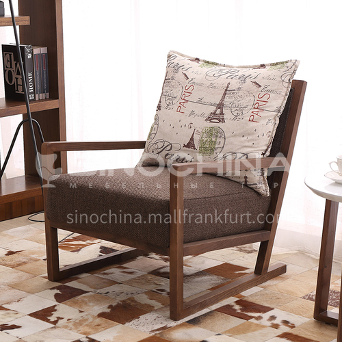 CL-OE123-Living room full solid wood frame cotton and linen fabric high density sponge chair