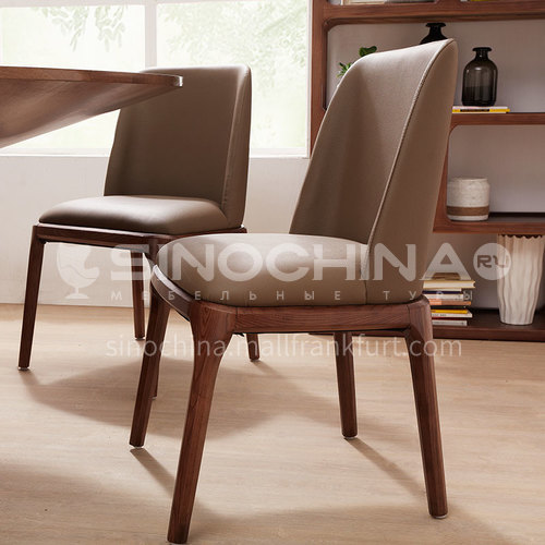 CL-Y013 PU leather ash wood frame dining chair