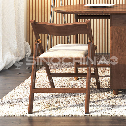 CL-DZ001 Minimalist dining chair with cotton and linen ash wooden frame