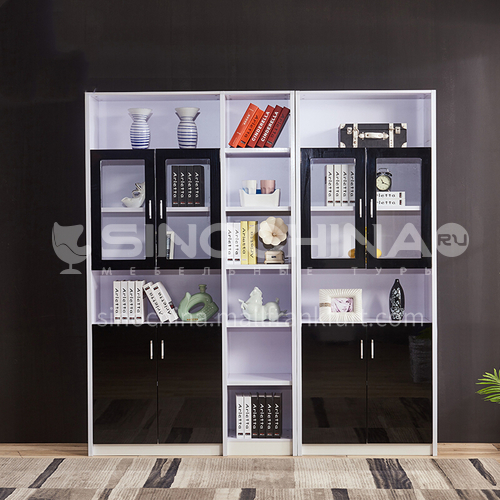 CL-S1002 Home office high-density paint tempered glass aluminum alloy handle bookcase