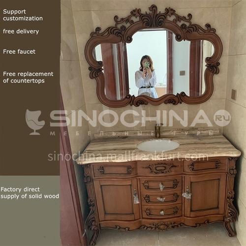 European antique bathroom cabinet red oak solid wood bathroom cabinet 8999O-Empire