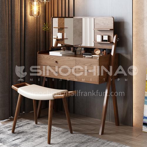 CL-TZ103- Nordic minimalist style, fiberboard, ash wood feet, mirror glass, Nordic dressing table