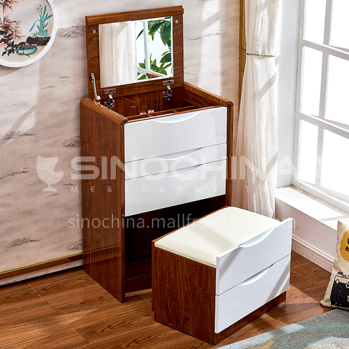 CL-TZ109- Nordic modern style, high density board, piano paint, mercury mirror, silent rail, Nordic modern dressing table