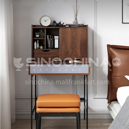 CL-TZ118- Nordic modern style, high-density board, matte paint, solid wood multilayer board, walnut veneer, iron black sand feet, Nordic modern dressing table
