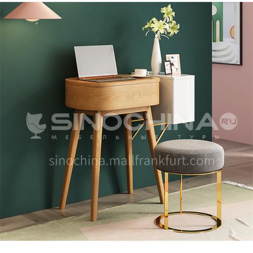 CL-TZ206- Scandinavian modern style, mercury mirror, ash wood frame, high density board, veneer, stainless steel bracket, high-grade flannel, Scandinavian modern dressing table
