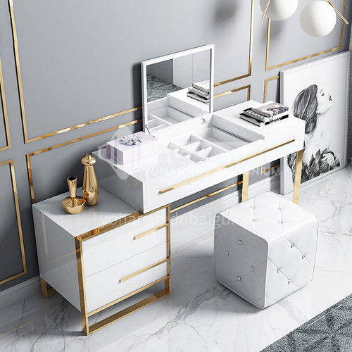 CL-TZ402- Modern light luxury style, piano paint, stainless steel table legs, hardware accessories, modern light luxury dressing table