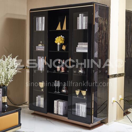 BJ-M1- Scandinavian modern minimalist style, glass door bookcase, solid wood storage cabinet, metal fittings, modern minimalist bookcase