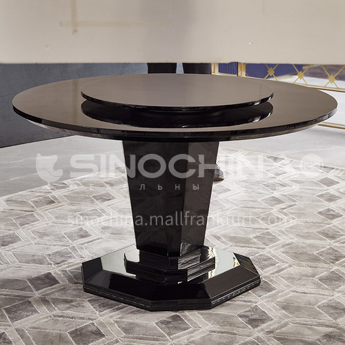 BJ-M1 Living room postmodern Italian style light luxury dining table Household round rotatable dining table