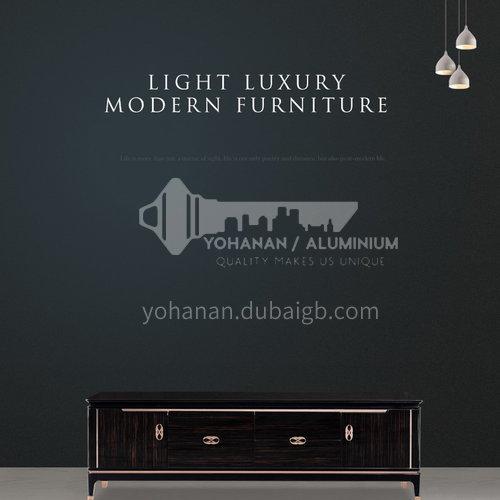 BJ-M2-Living room Nordic light luxury simple metal fittings handle wood versatile floor cabinet